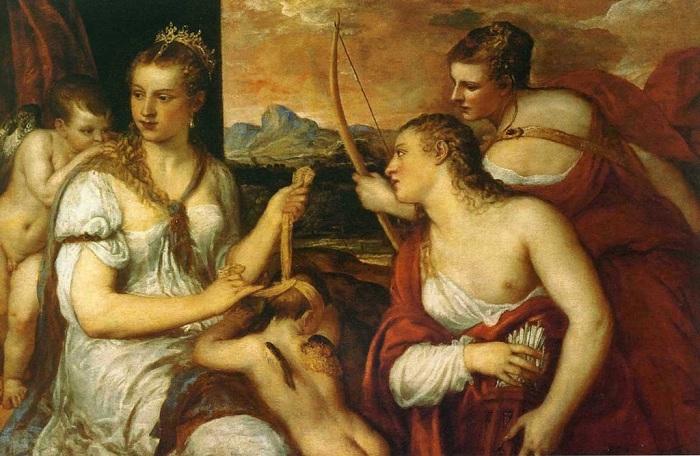 «Венера, завязывающая Амуру глаза». Галерея Боргезе, Рим. Автор: Тициан Вечеллио.
