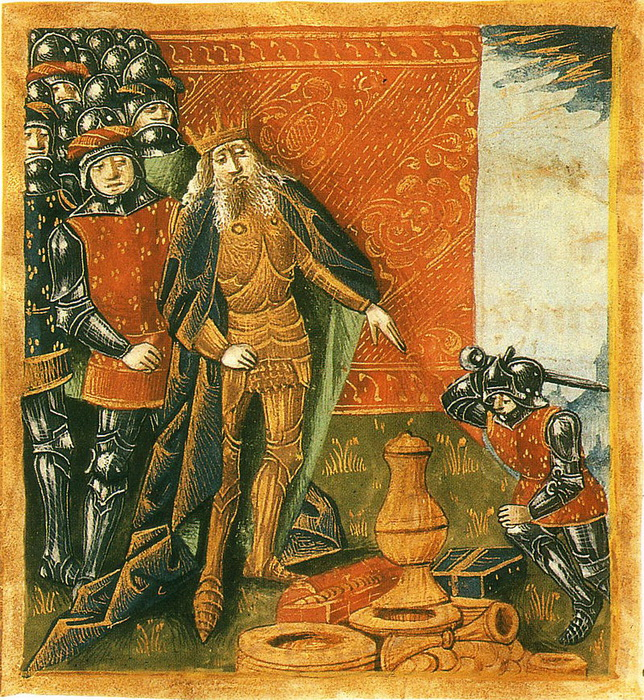 Хлодвиг и суассонская чаша. Иллюстрация XIV века